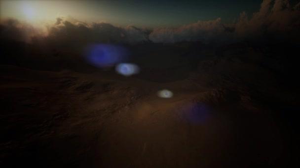 písečná bouře v poušti při západu slunce