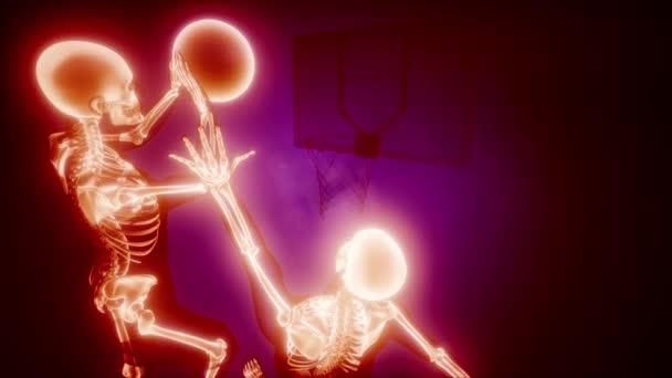 basketbaloví hráči s viditelnými kostmi