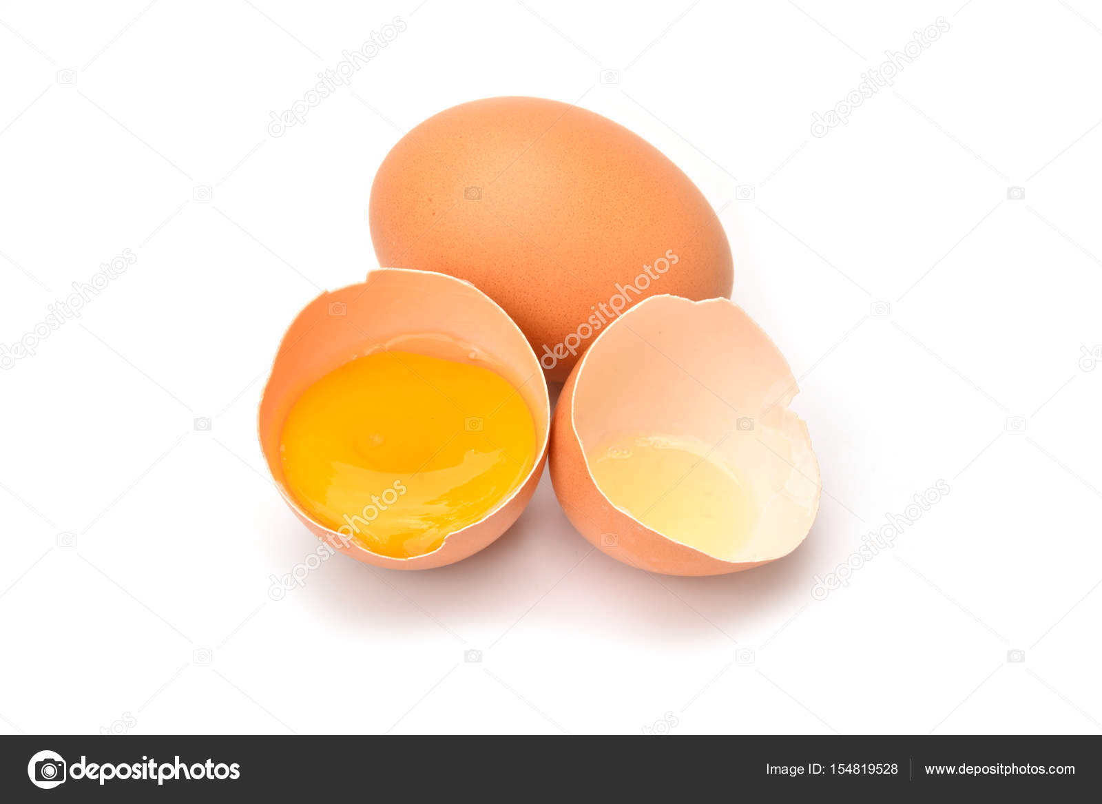 Brown Chicken Egg With Broken Egg Isolated On White