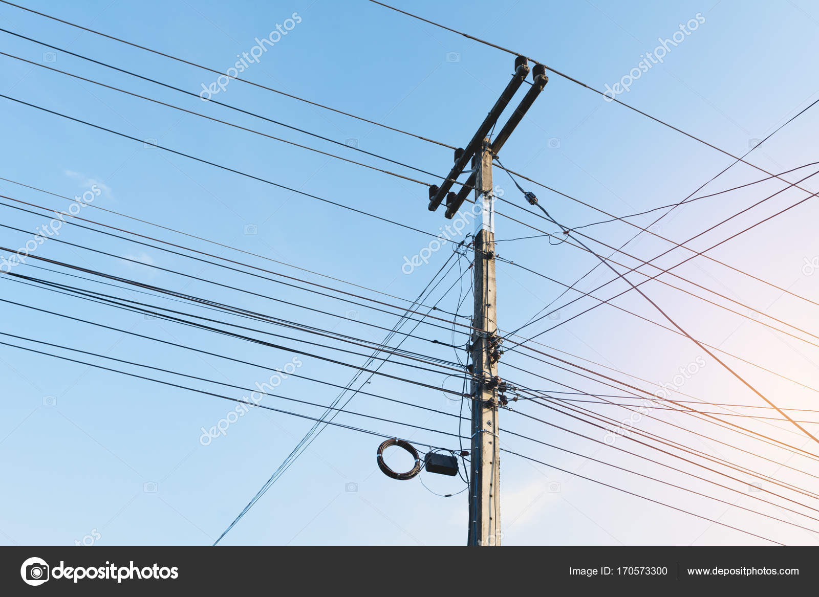 Groovy The Electric Pole With Black Wire Cable And Clear Blue Sky Concrete Wiring Digital Resources Indicompassionincorg