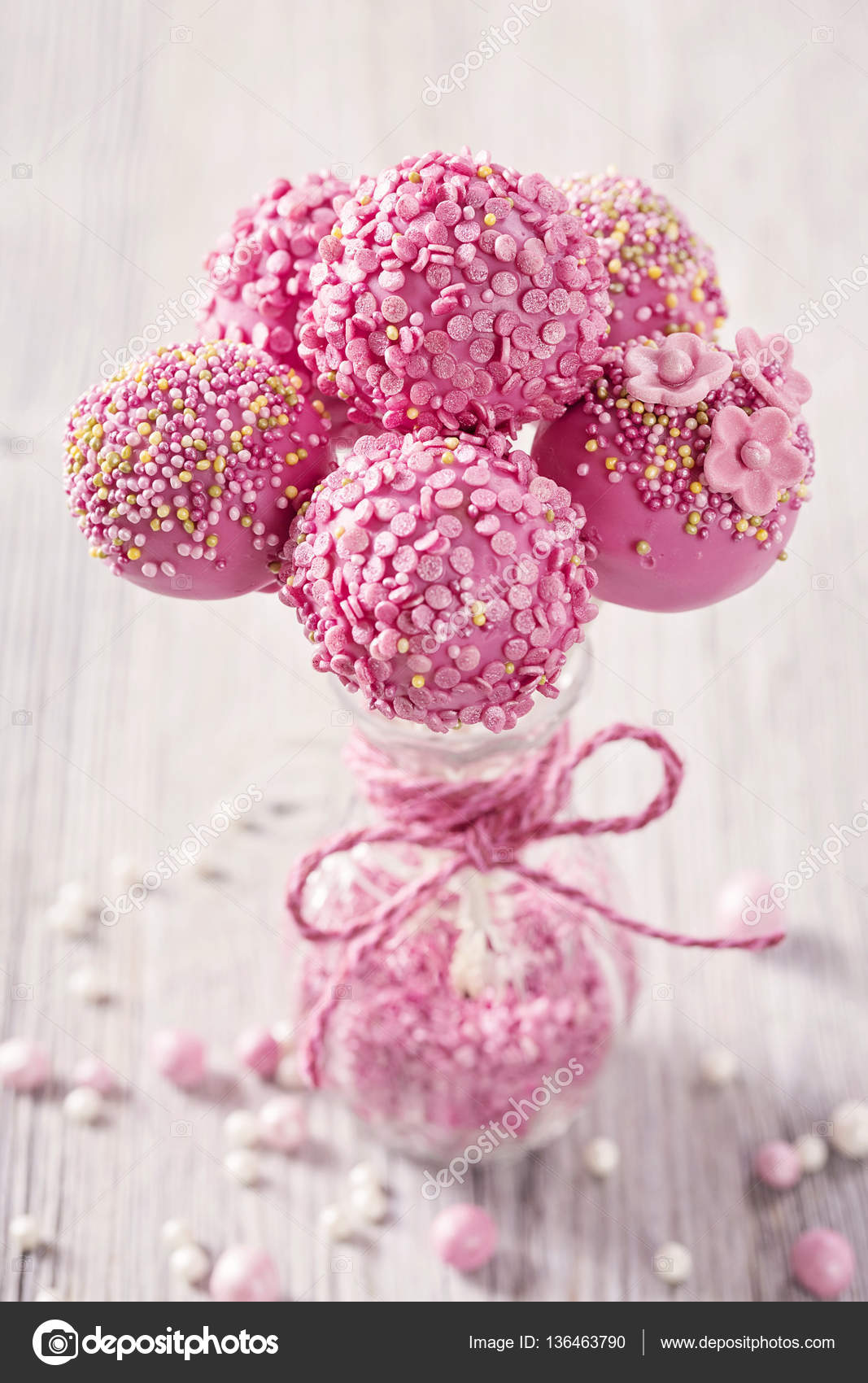 Pink Cake Pops Stock Photo Egal 136463790