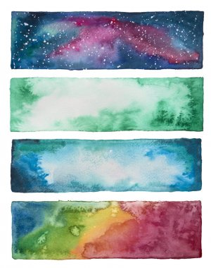 Collection of watercolor banners