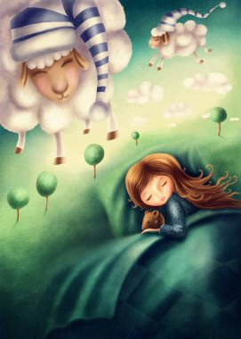 Little girl and ounting sheep