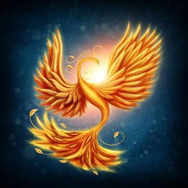 Magic firebird on blue