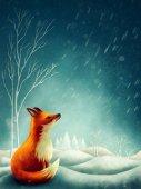 Fotografia Piccola volpe rossa in inverno