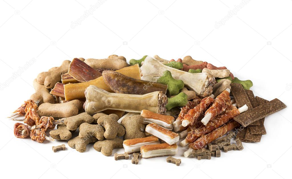 Assortment of dog snacks