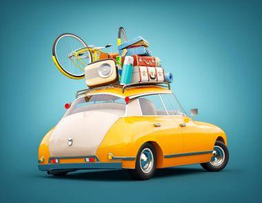 Retro car with laggage