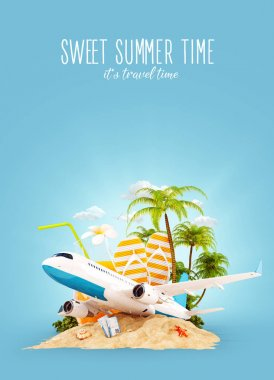 airplane and tropical palm on a paradise island