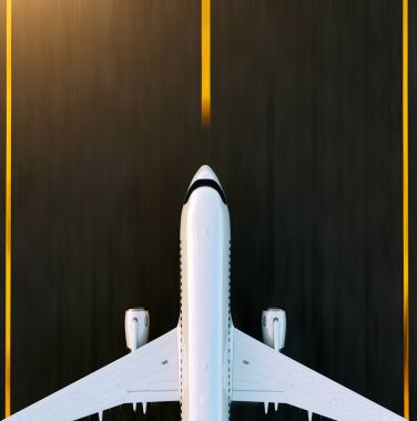 White commercial airplane standing on the airport runway at sunset. Passenger airplane is taking off. Airplane concept 3D illustration. stock vector
