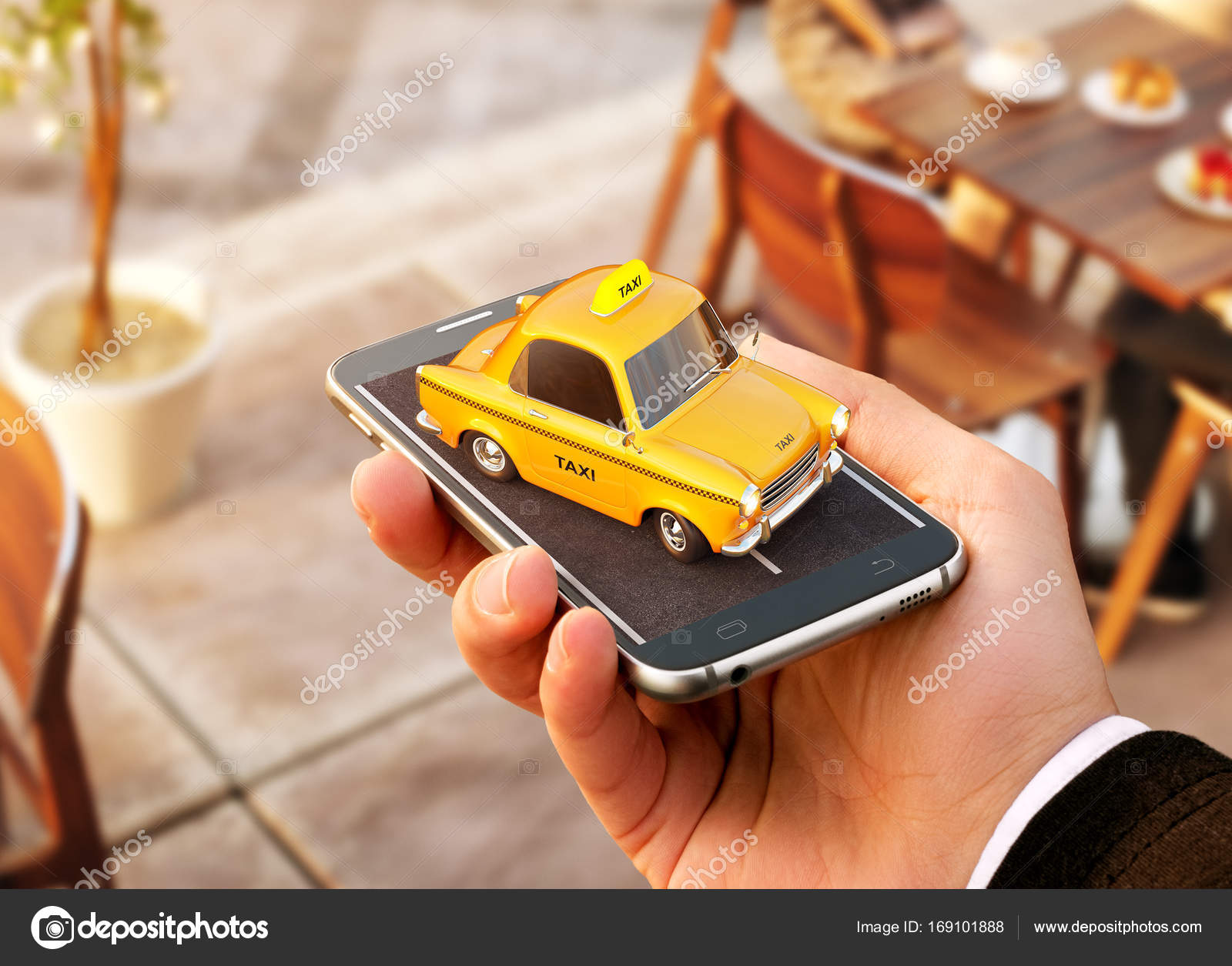 Smartphone application of taxi service for online searching calling