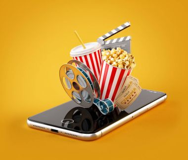 Smartphone application for online buying and booking cinema tickets. Live watching movies and video. Unusual 3D illustration of popcorn, cinema reel, clapper board and tickets on smarthone in hand stock vector