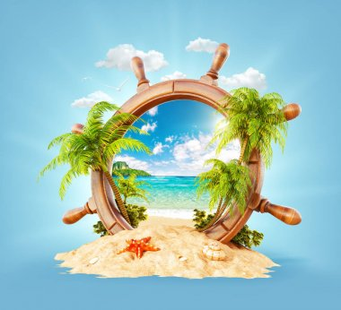 Tropical landscape in a helm