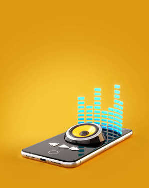 Smartphone application for online buying, downloading and listening to music. Unusual 3D illustration of music player app on smartphone screen