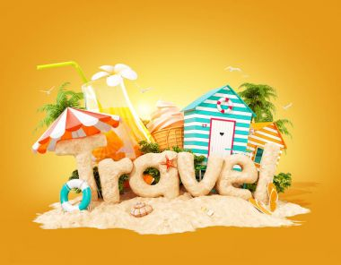 The word Travel made of sand on tropical island. Unusual 3d illustration of summer vacation. Travel and vacation concept.