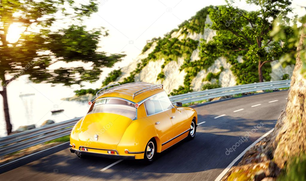 Cute little retro car goes by the road along beautiful harbor between mountain in summer day.