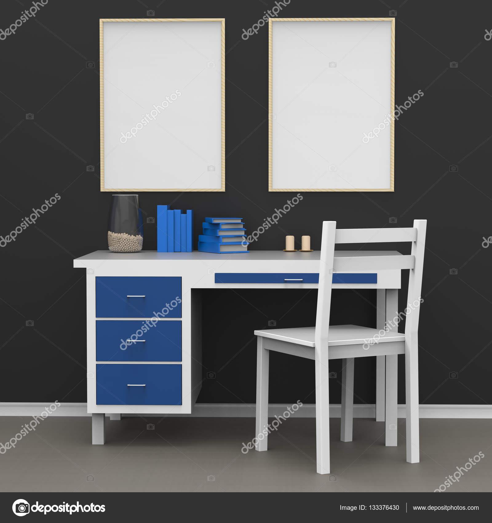 Moderne Wohnkultur Mock-up. Poster über dem Tisch. 3D illutration ...
