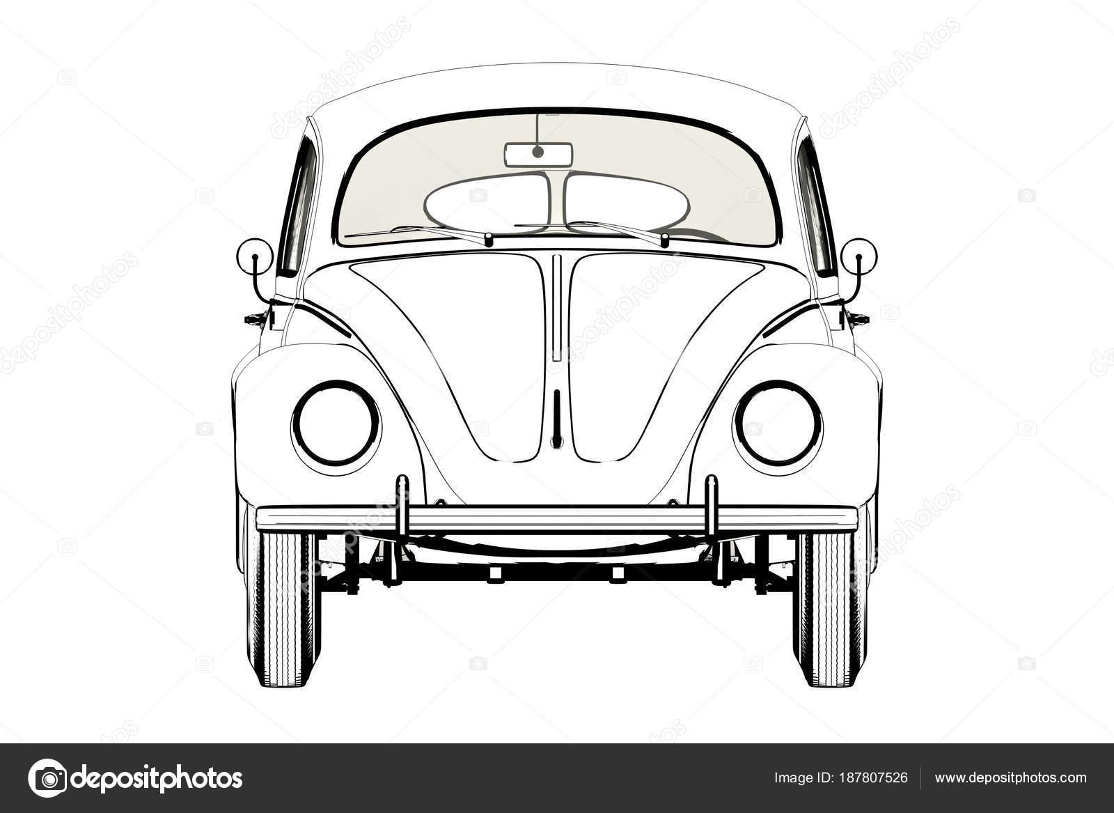 Desenho De Fusca: Afeiçoes Carro Wolksvagen Fusca Sketch. Ilustração 3D