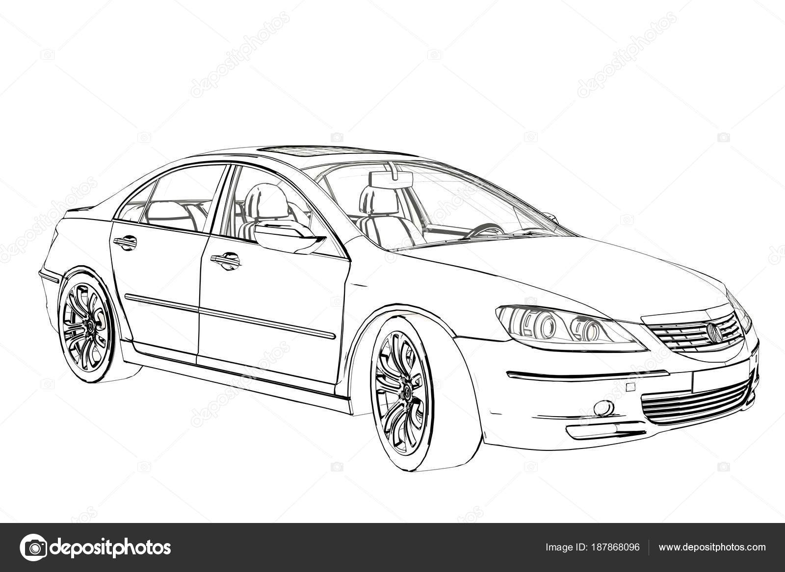 Luxury Car Acura Rl Sketch 3d Illustration Stock Editorial Photo