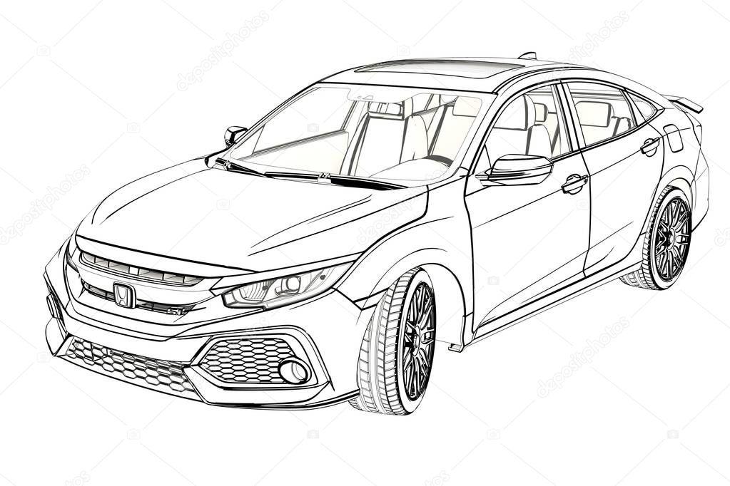 desenho gr u00e1fico sedan honda civic 2017  ilustra u00e7 u00e3o 3d