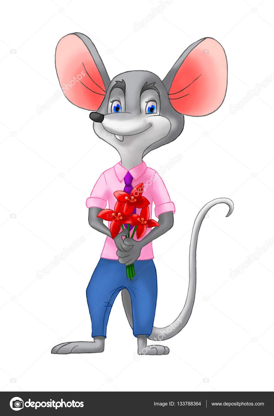 Junge Maus mit Blumen am Valentinstag — Stockfoto © Tayka_ya #133788364
