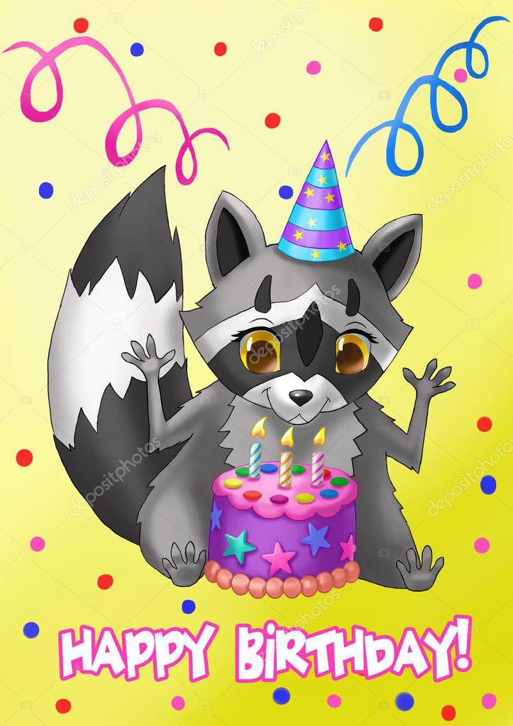 штаб открытка на день рождения с енотом раскраска учится