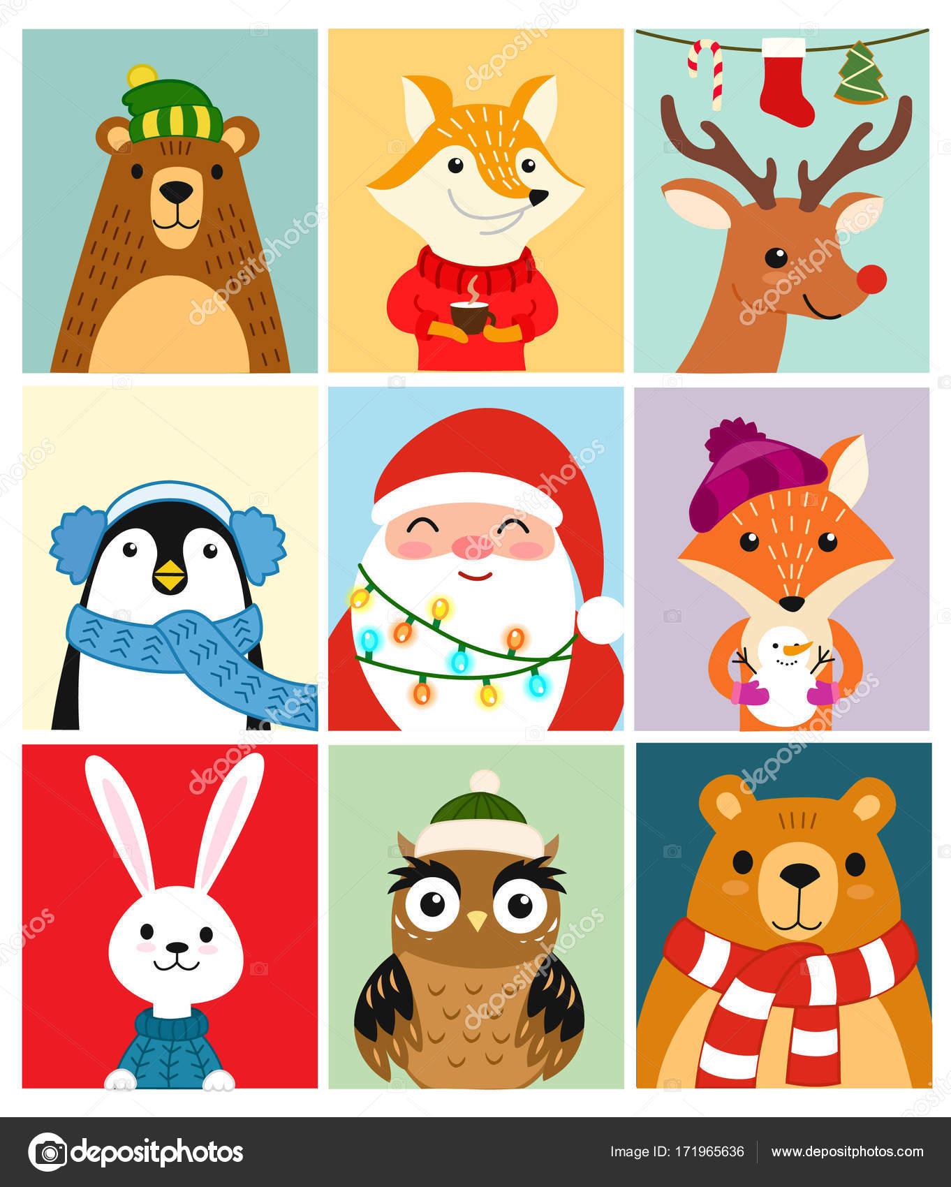 かわいい動物。冬のポストカードのセットです。ベクトル イラスト
