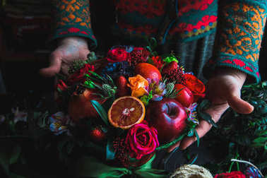 bouquet of flowers and fruits