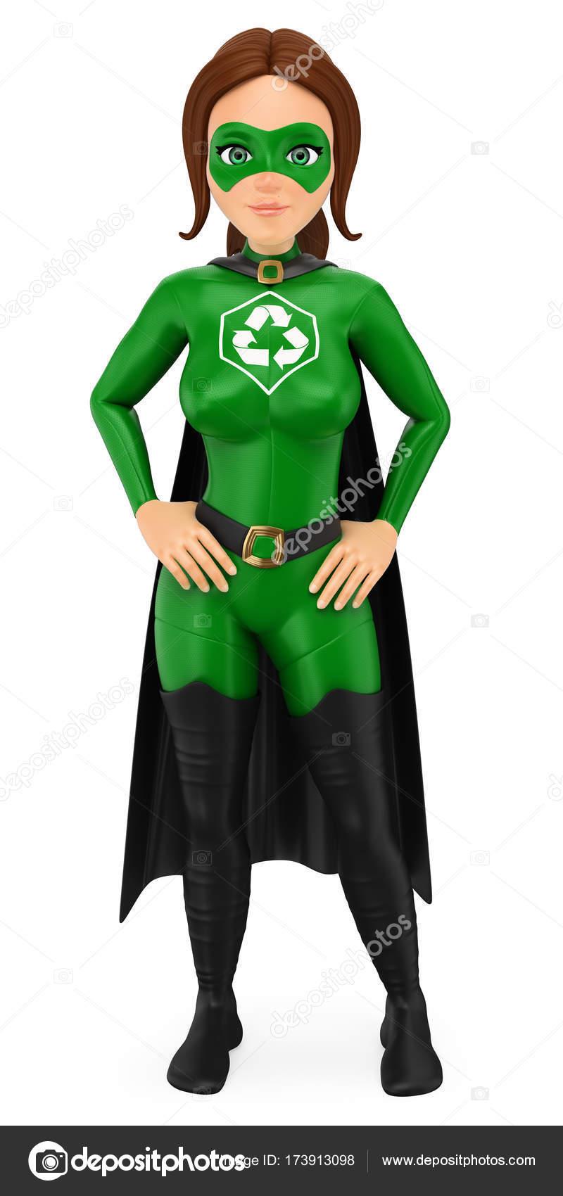 3d super h ros de femme du recyclage debout les mains sur la taille photographie real texelart - Liste de super heros femme ...