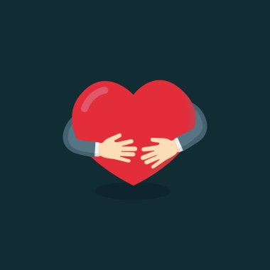 Hug The Love Shape Vector, Hug Your Self Love Your Self. I like hugs Vector illustration, heart sign, heart symbol