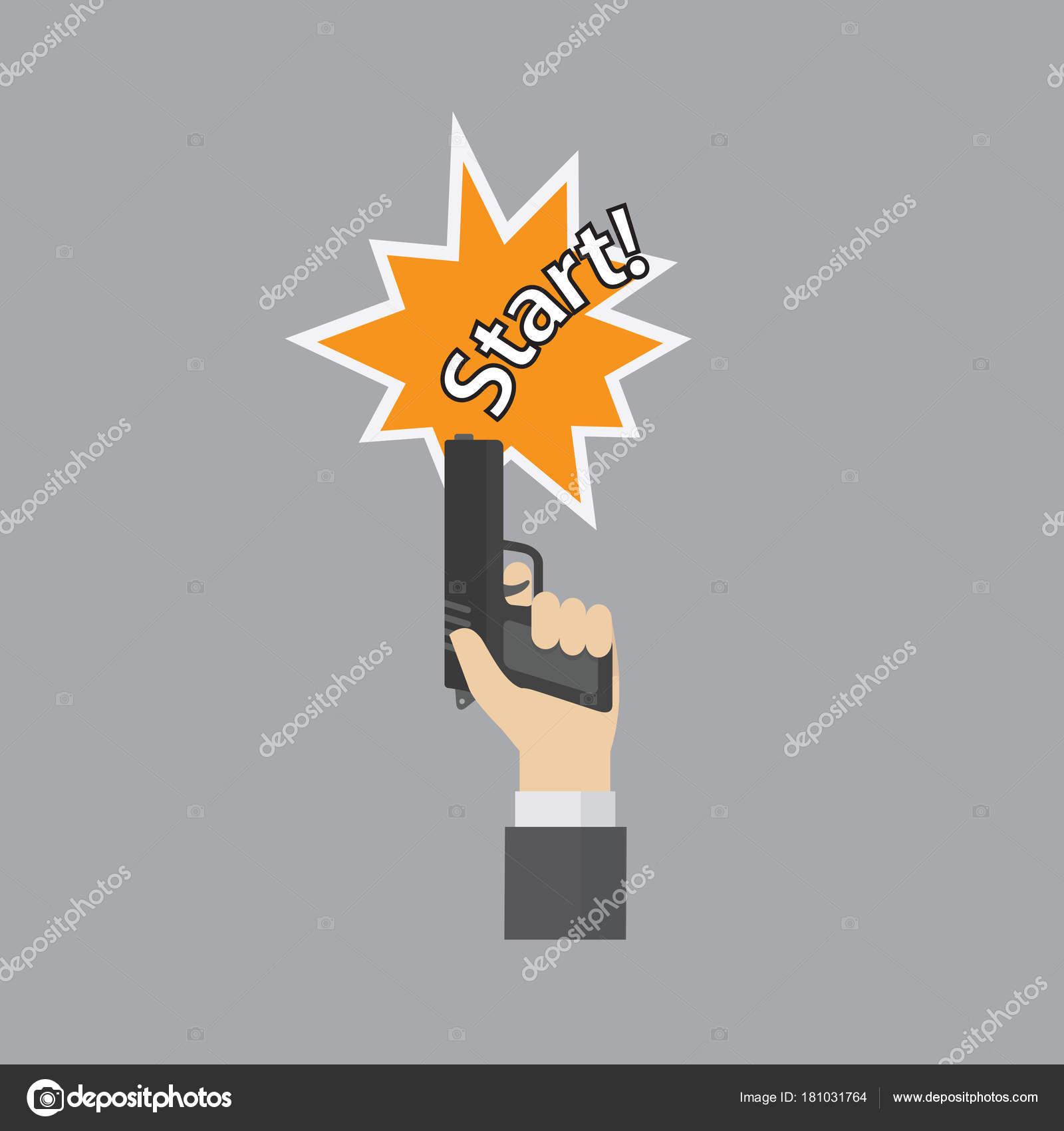 Hand firing a gun for starting race with start text stock vector hand firing a gun for starting race with start text stock vector biocorpaavc