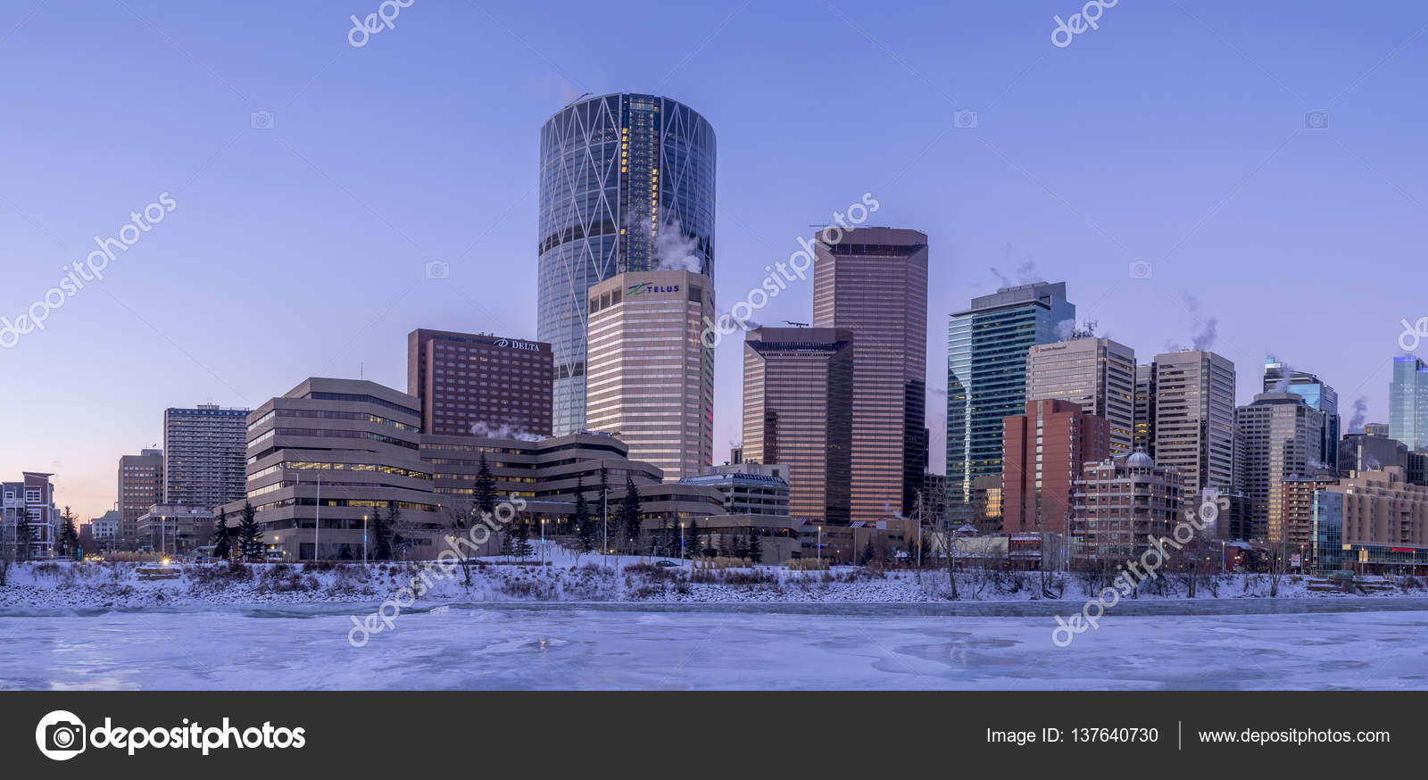 Calgary S Skyline At Sunrise On A Cold Winter Day Stock