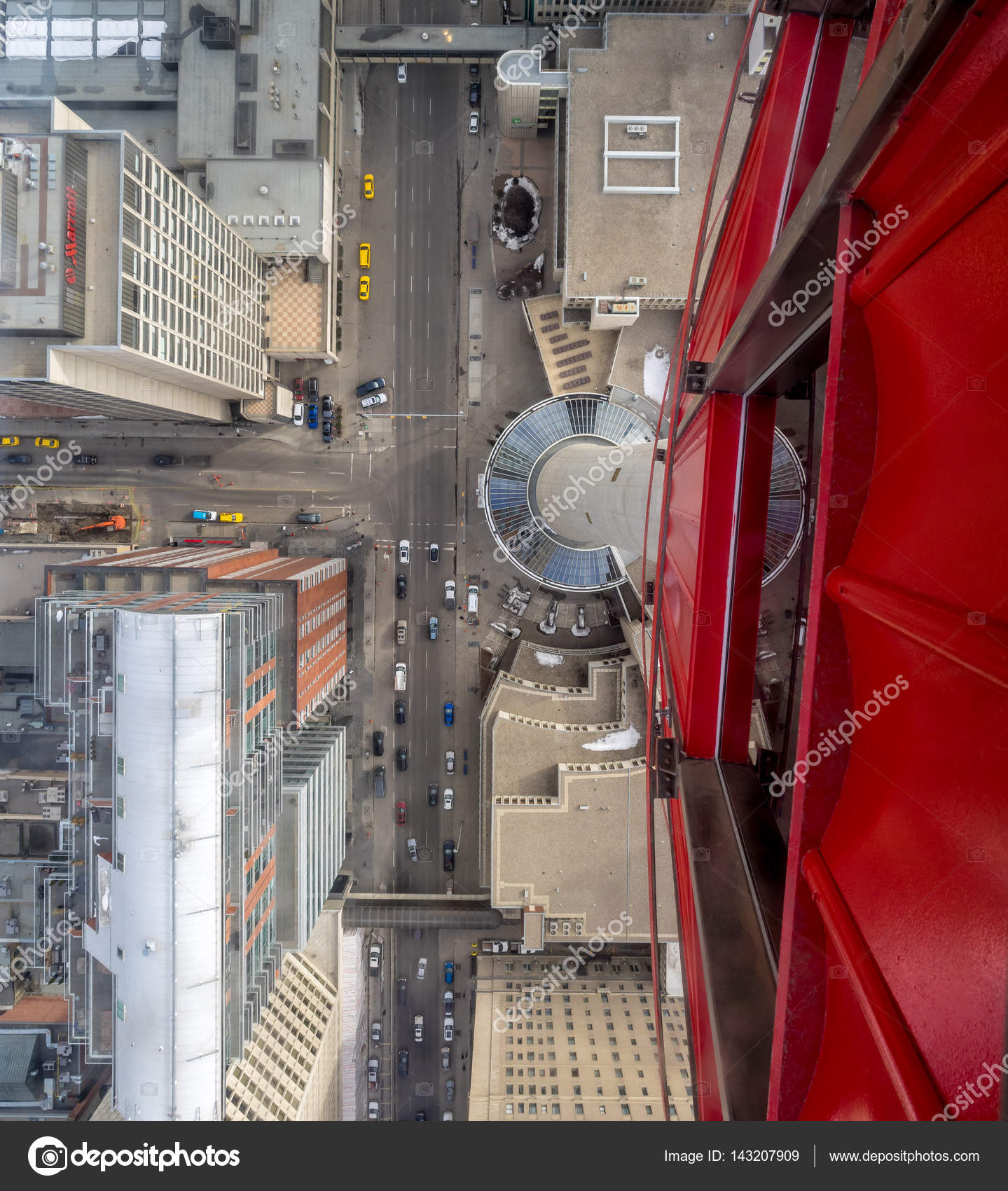 Glass Floor Of The Calgary Tower In Calgary Alberta Stock Photo