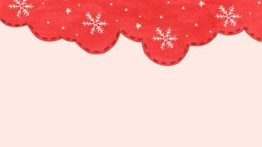 Snow flake and star in red sky winter season background. Winter border for your design.