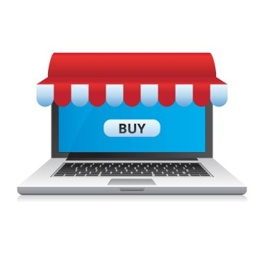 Online store on laptop