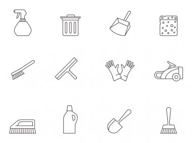 Cleaning tool icons series