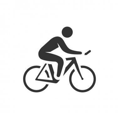 Cycling icon in single grey color.