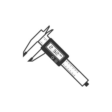 Digital caliper icon in single color.