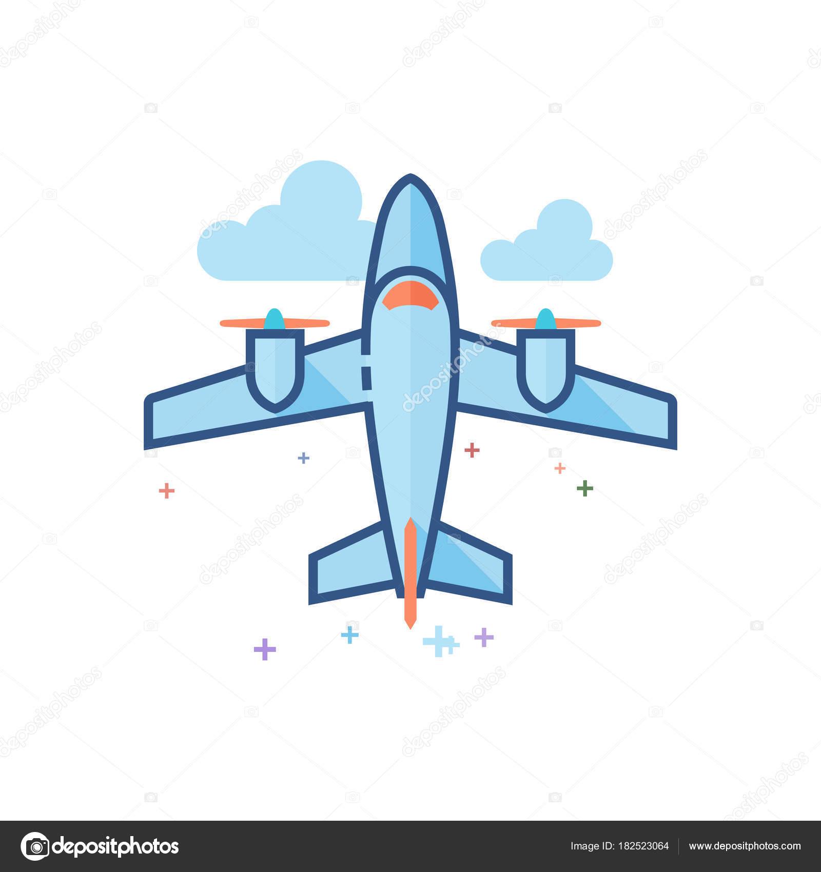 Icono Avión Vintage Color Plano Delineado Estilo Ilustración Vector ...