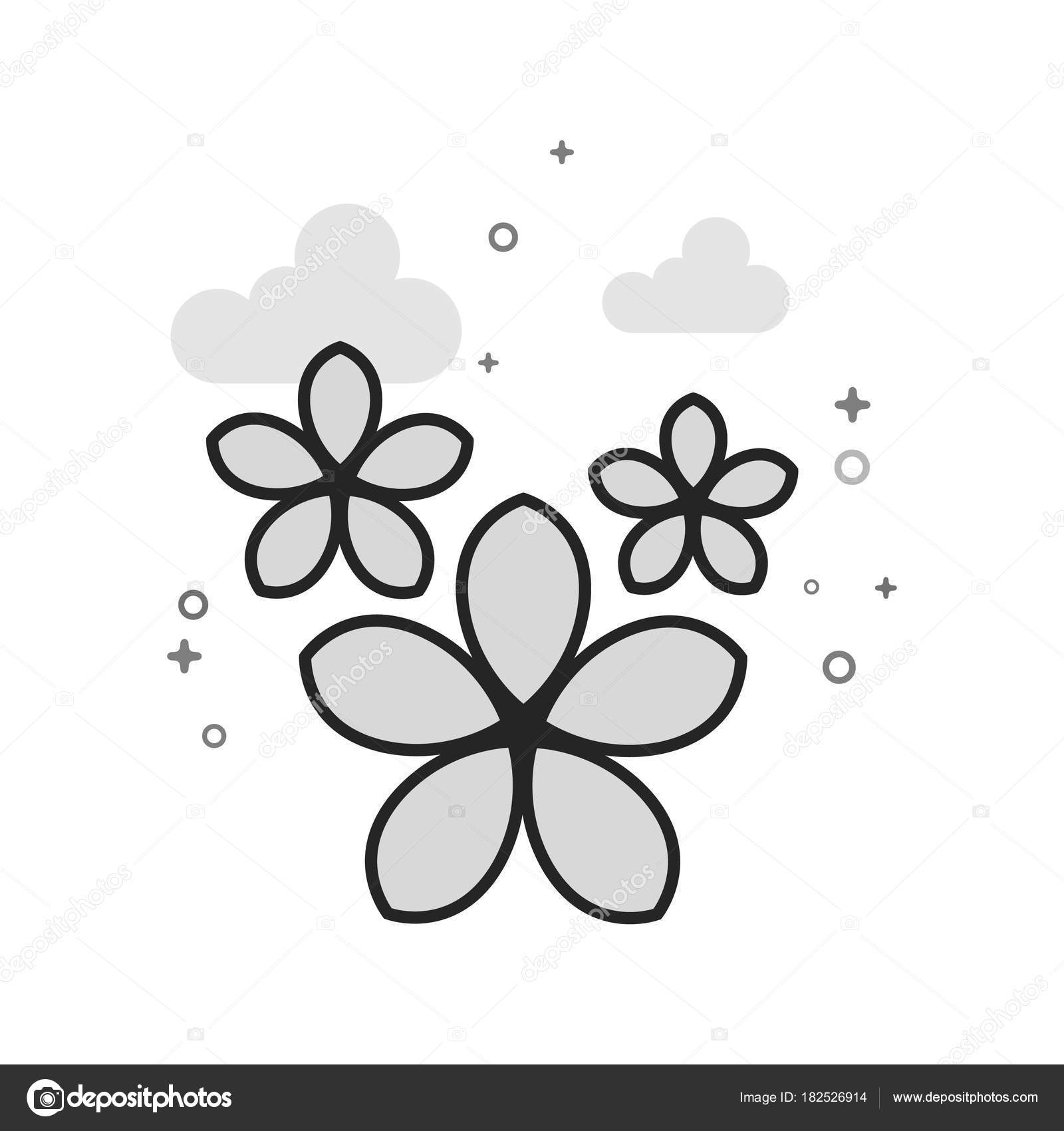 Jasmine Flowers Icon Flat Outlined Grayscale Style Vector