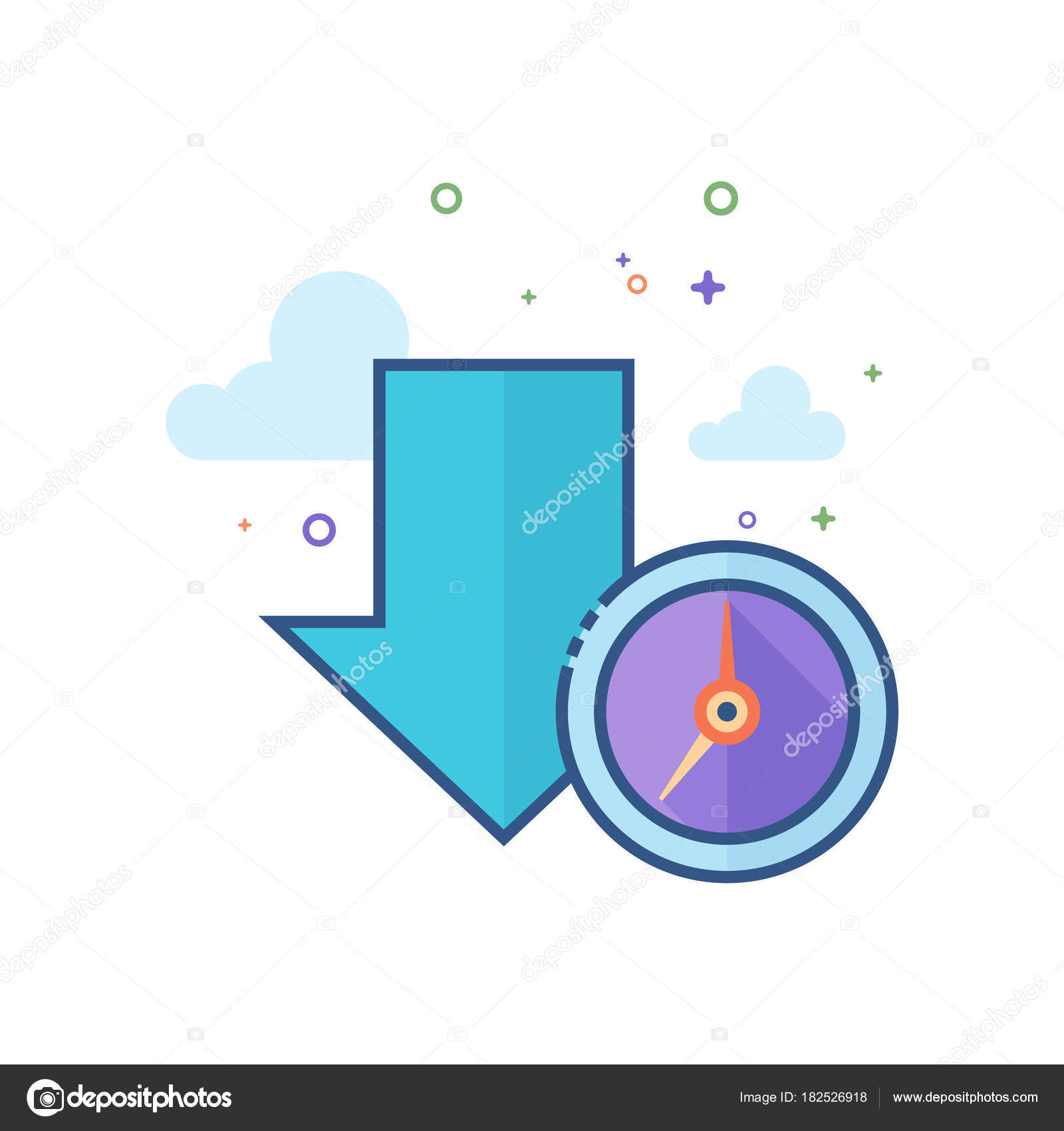 Download queue icon outlined flat color style vector illustration download queue icon outlined flat color style vector illustration stock vector ccuart Images
