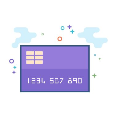Credit card icon in outlined flat color style. Vector illustration.