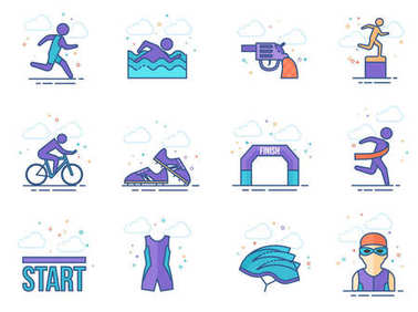 Triathlon icon series in flat colors style. Vector illustration.