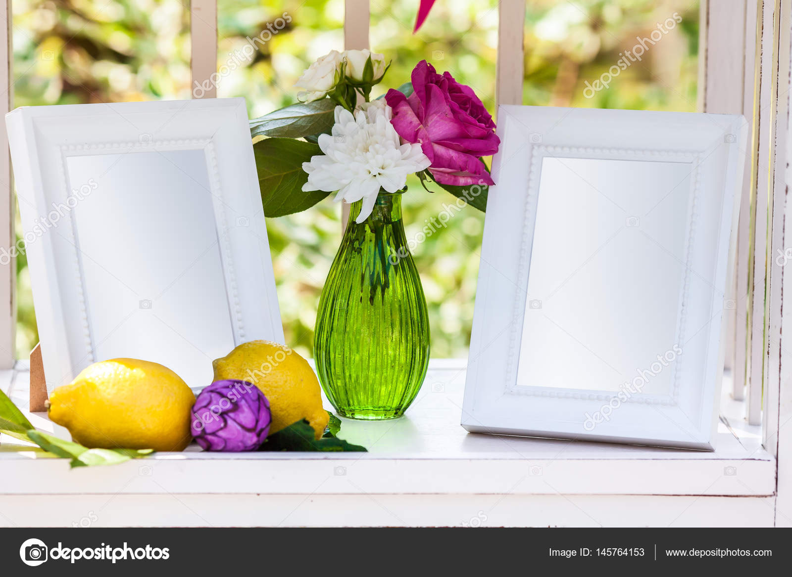 White photo frames on the table for wedding decoration stock photo white photo frames on the table for wedding decoration stock photo junglespirit Choice Image