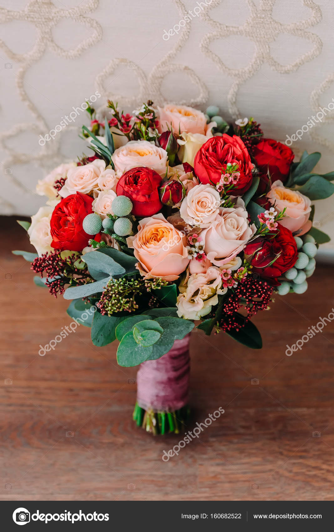 Pink And Red Flower Bouquet Beautiful Wedding Bouquet Of Red Flowers Pink Flowers And Greenery Is On The Wooden Floor Stock Photo C Stahov 160682522