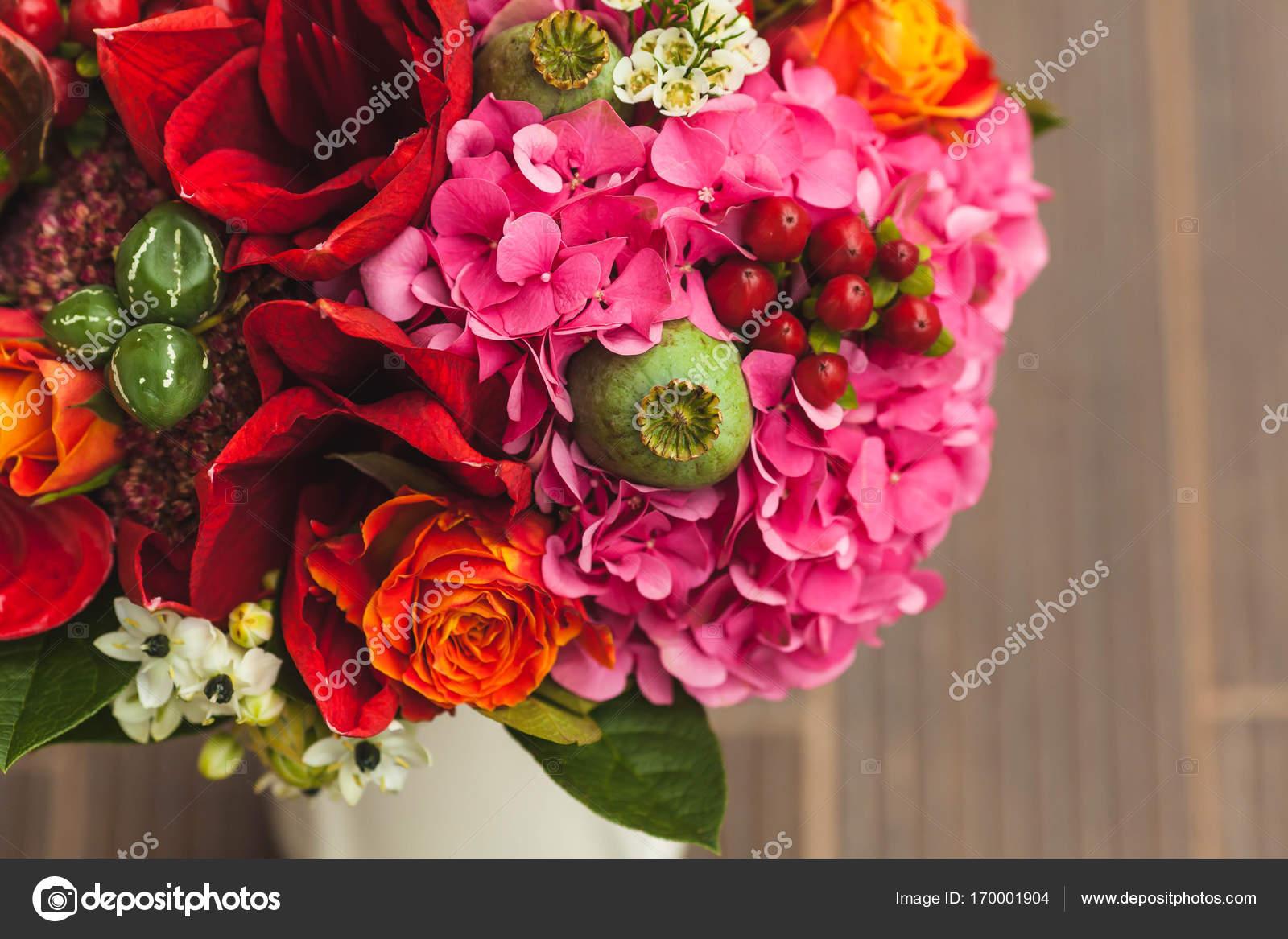Rustic Wedding Bouquet With Orange Crimson And Bordeaux Roses