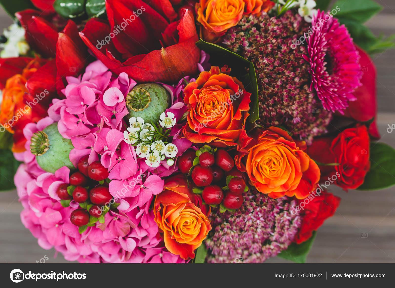 Rustikale Hochzeit Bouquet Mit Orange Purpur Und Bordeaux Rosen