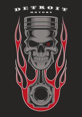 Piston skull vector