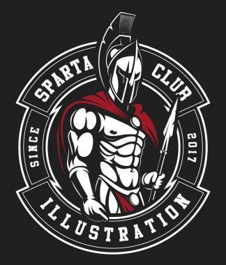 Gladiator emblem on black background
