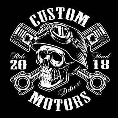 Biker skull with crossed pistons t-shirt design (monochrome vers