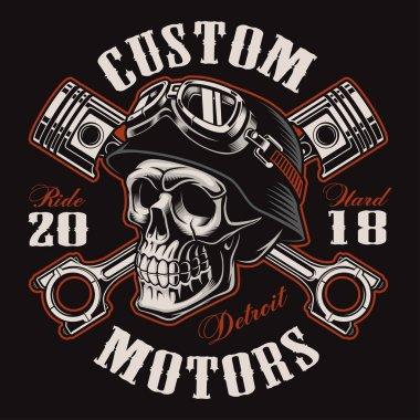 Biker skull with crossed pistons t-shirt design (color version)
